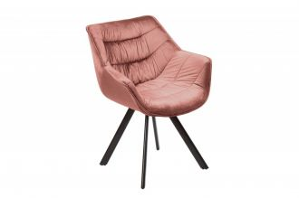 Židlo-křeslo DUTCH COMFORT tmavě růžové samet