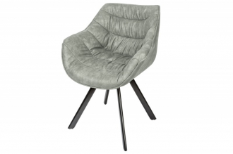Židlo-křeslo DUTCH COMFORT antik světle šedé mikrovlákno