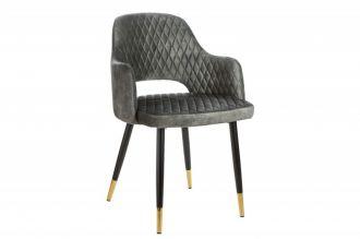 Jídelní židle PARIS šedo-zelená samet