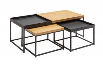 3SET konferenční stolek LOFT dubová dýha