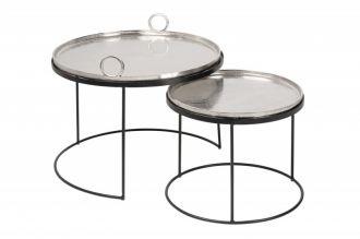 2SET odkládací stolky ELEMENTS ORIENTAL stříbrný