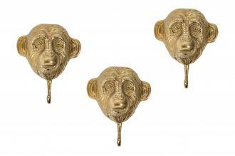 3SET věšák THREE MONKEYS zlatý