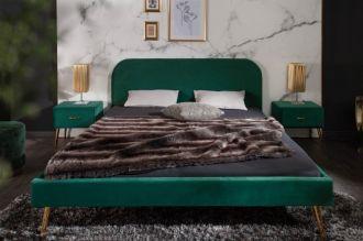 Postel FAMOUS 160x200 CM smaragdově zelená samet