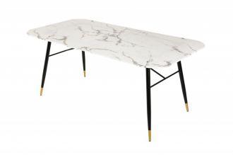 Skleněný jídelní stůl PARIS 180 CM bílý mramorový vzhled