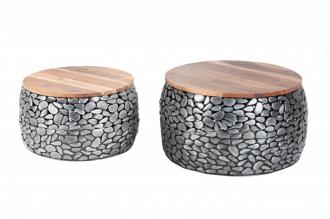 2SET konferenční stolek STONE MOSAIC 65 CM šedý