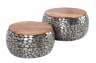 2SET konferenční stolek STONE MOSAIC 65 CM stříbrný
