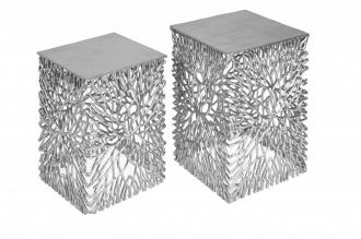 2SET odkládací stolek LEAF stříbrný