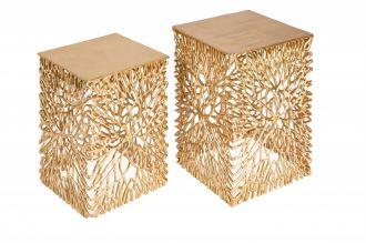 2SET odkládací stolek LEAF zlatý
