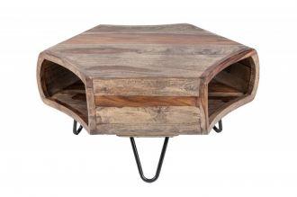 Konferenční stolek ORGANIC SMOKE GREY 70 CM masiv sheesham