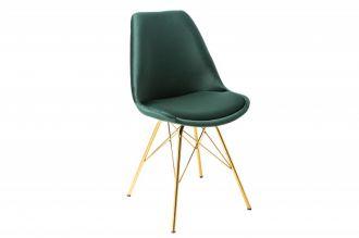 Jídelní židle SCANDINAVIA RETRO tmavě zelená / zlatá