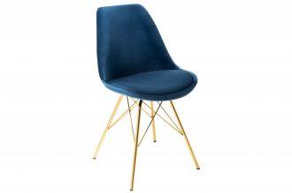 Jídelní židle SCANDINAVIA RETRO tmavě modrá / zlatá