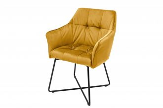 Jídelní židle LOFT tmavě žlutá samet