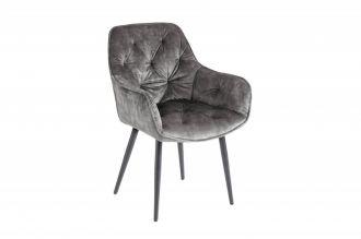 Židle MALANO šedozelená samet