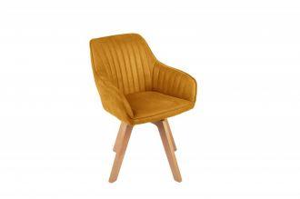 Jídelní židle LIVORNO tmavě žlutá samet otočná