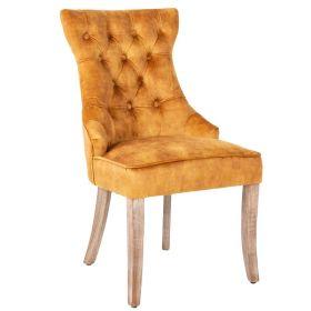 Židle CASTLE S RUKOJETÍ tmavě žlutá samet