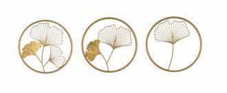 3SET nástěnná dekorace GINKGO 40 CM zlatá