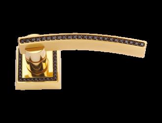 luxusní rozetová klika MIMOZA GOLD s potahem 24 kt zlata, černé krystaly