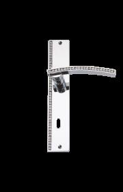 luxusní štítková klika MIMOZA SILVER čiré krystaly