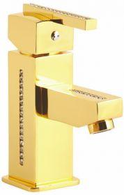 luxusní umyvadlová baterie MIMOZA GOLD s potahem 24 kt zlata, čiré krystaly