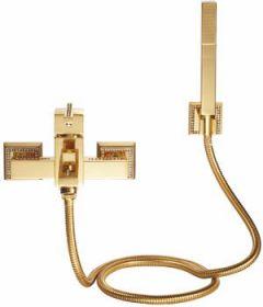 luxusní vanová baterie MIMOZA GOLD s potahem 24 kt zlata, černé krystaly