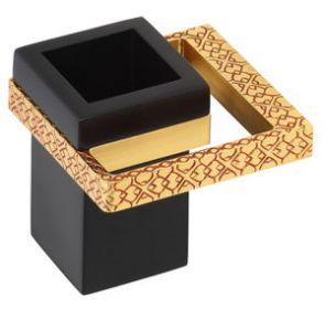 luxusní kelímek na kartáčky s úchytem FRAME GOLD s potahem 24 kt zlata