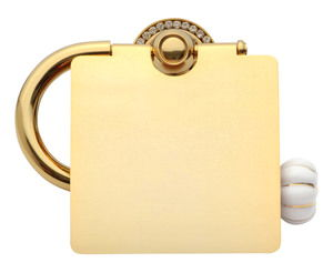 luxusní držák na toaletní papír NISA GOLD s potahem 24 kt zlata