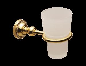 luxusní držák na kartáčky ALMARA GOLD s potahem 24 kt zlata, krystaly