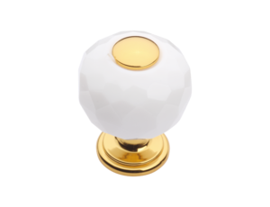 luxusní knopka 40mm BEBEK GOLD s potahem 24 kt zlata, bílý krystal
