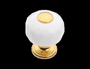 luxusní knopka 20mm BEBEK GOLD s potahem 24 kt zlata, bílý krystal