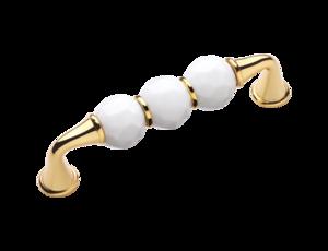 luxusní úchytka 128mm BEBEK GOLD s potahem 24 kt zlata, bílé krystaly