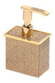luxusní dávkovač mýdla ROSA SWAROVSKI GOLD s potahem 24 kt zlata, krystaly