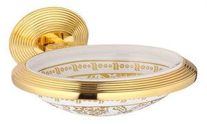 luxusní miska na mýdlo BUBBLE GOLD WHITE s potahem 24 kt zlata