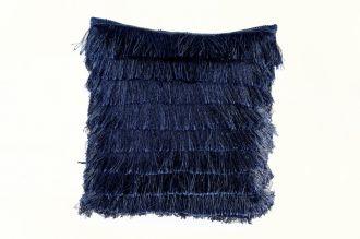 Polštář s třásněmi FRANSEN modrý
