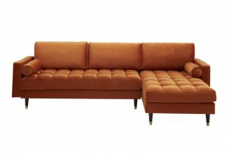 Luxusní rohová sedačka COZY VELVET ORANGE