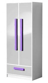Šatní skříň GULLIWER 1 bílá lesk/fialová