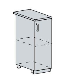 30D d. skříňka 1-dveřová TECHNO bk/oranžová metalic