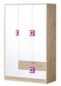 Šatní skříň 3-dveřová NIKO 3 dub jasný/bílá/růžová