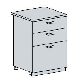 60D3S d. skříňka 3-zásuvková CHARLIZE bk/bílá