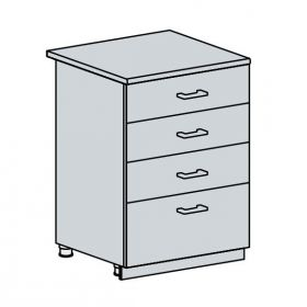 60D4S d. skříňka 4-zásuvková GREECE bk/bílá metalic