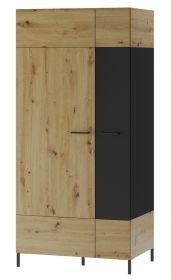 Šatní skříň LUCAS 70 dub artisan/černá mat