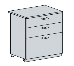 80D3S d. skříňka 3-zásuvková VALERIA bk/bílá lesk