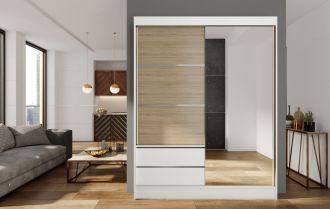 Skříň s posuv. dveřmi 150 cm VARIA bílá/sonoma/zrcadlo