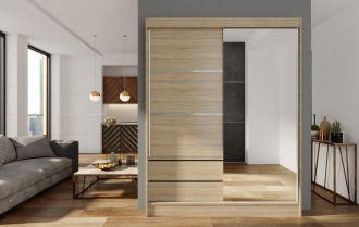 Skříň s posuv. dveřmi 150 cm VARIA dub sonoma/zrcadlo