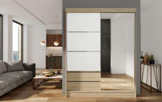 Skříň s posuv. dveřmi 150 cm VARIA sonoma/bílá/zrcadlo
