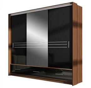 Šatní skříň AMSTERDAM 250L se zrcadlem černá