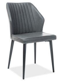 Jídelní čalouněná židle APOLLO šedá ekokůže/černá