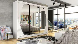 Šatní skříň ADRIA V bílá mat/zrcadlo
