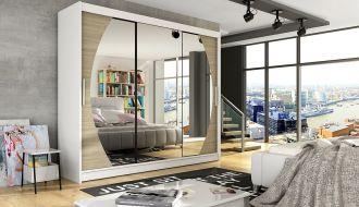 Šatní skříň ADRIA V bílá/sonoma/zrcadlo