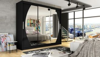 Šatní skříň ASTON V černá mat/zrcadlo