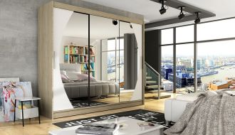 Šatní skříň ASTON V sonoma/bílá/zrcadlo